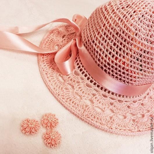 Шапки и шарфы ручной работы. Ярмарка Мастеров - ручная работа. Купить Шляпка в персиковых тонах. Handmade. Однотонный, шляпа с полями
