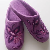 Обувь ручной работы handmade. Livemaster - original item Felted Slippers women`s purple. Handmade.