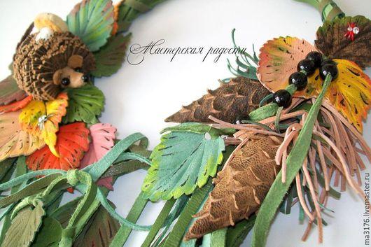 """Колье, бусы ручной работы. Ярмарка Мастеров - ручная работа. Купить """"Осень в лесу"""" Колье из кожи.Украшения.. Handmade. Разноцветный"""