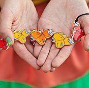 Украшения ручной работы. Ярмарка Мастеров - ручная работа колье Лисички, ручная роспись, оранжевый. Handmade.