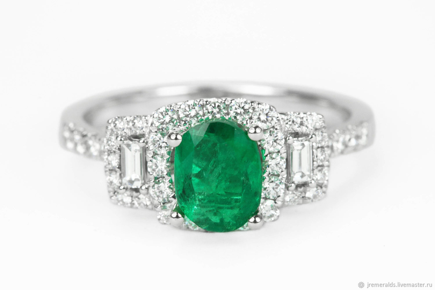 1.40tcw Oval Colombian Emerald Engagement Ring, Modern Emerald Engagem, Rings, West Palm Beach,  Фото №1