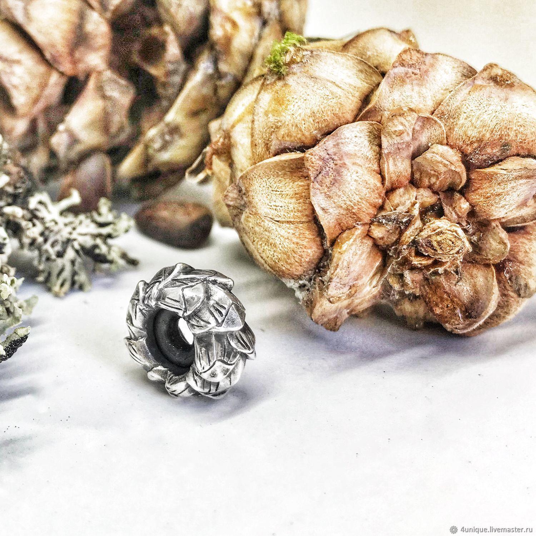 "Big silver stopper-bead ""Cedar cone"", Bead bracelet, St. Petersburg,  Фото №1"