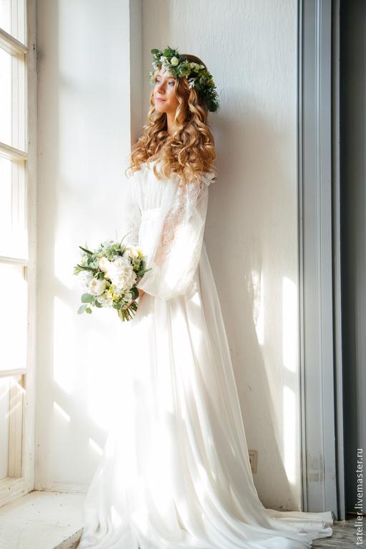 Одежда и аксессуары ручной работы. Ярмарка Мастеров - ручная работа. Купить свадебное платье. Handmade. Белый, кружево