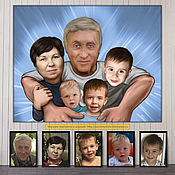 Сувениры и подарки handmade. Livemaster - original item Family cartoon-picture by photo. Gift to the father, father, head of the family.. Handmade.