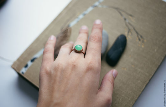 """Кольца ручной работы. Ярмарка Мастеров - ручная работа. Купить Медное колечко """"Свет внутри"""". Handmade. Мятный, зеленый"""