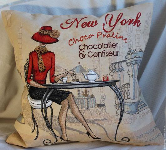 Текстиль, ковры ручной работы. Ярмарка Мастеров - ручная работа. Купить КАФЕ НЬЮ-ЙОРК (левая): чехол гобеленовый на подушку, 45-45 см. Handmade.