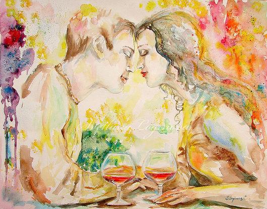 """Люди, ручной работы. Ярмарка Мастеров - ручная работа. Купить картина акварель """"Солнечная нежность""""- с влюбленными. Handmade. Картина в спальню"""