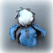 Украшения handmade. Livemaster - original item Genuine leather iris IVAR brooch. Handmade.