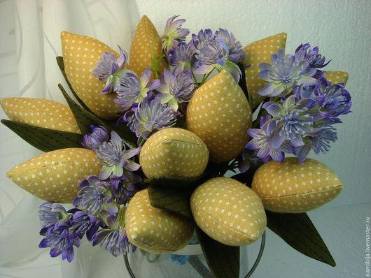 """Куклы Тильды ручной работы. Ярмарка Мастеров - ручная работа. Купить Тюльпаны """" Весна в горошек"""". Handmade. Оливковый, цветы"""