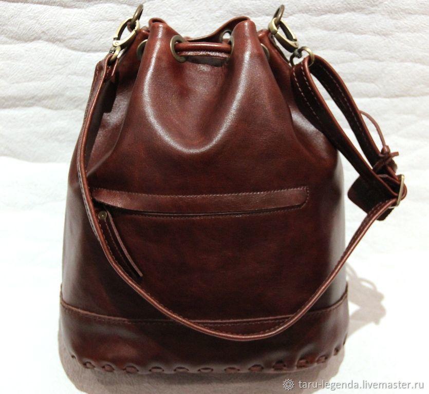 Сумка-торба кожаная тёмно-коричневая