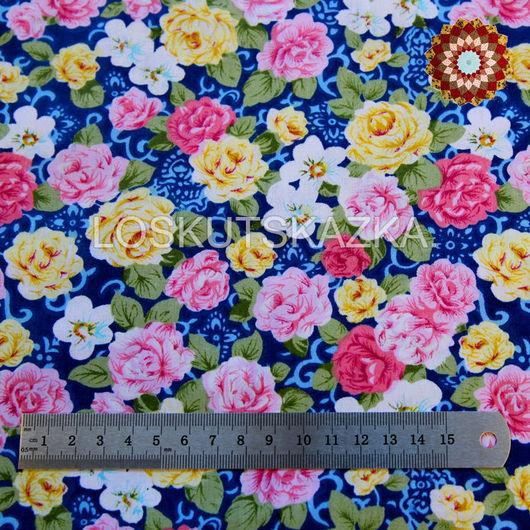 Ткань хлопок `Чайные розы синий`. Код товара: DFS-00018