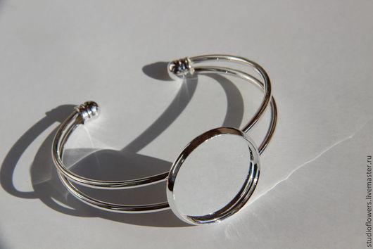 Для украшений ручной работы. Ярмарка Мастеров - ручная работа. Купить Основа для браслета с платформой 2.5 см, серебро.. Handmade.