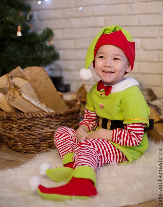 Карнавальный новогодний костюм Эльфа для малышей и детей