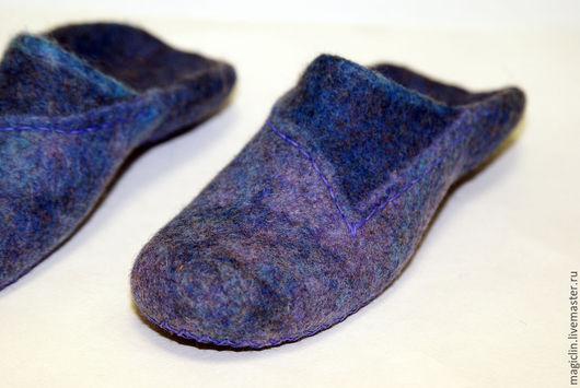 Обувь ручной работы. Ярмарка Мастеров - ручная работа. Купить Тапчульки. Handmade. Синий, тапки из шерсти, кардочёсанная шерсть