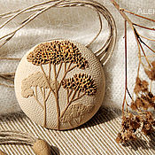 Украшения handmade. Livemaster - original item Round pendant with branches of polymer clay. Handmade.