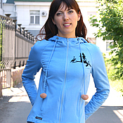 Одежда handmade. Livemaster - original item Blue women`s sky sweatshirt, zipper hoodie. Handmade.
