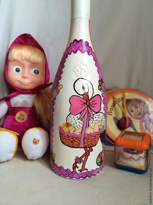 Подарки для новорожденных, ручной работы. Ярмарка Мастеров - ручная работа. Купить Шампанское в подарок на рождение ребенка. Handmade. Розовый, шампанское