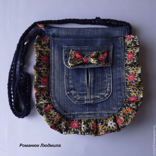 Маленькая женская джинсовая сумочка с бантиком на длинном ремешке, через плечо Интернет-магазин Ярмарка мастеров Сумки джинсовые ручной работы, шитые