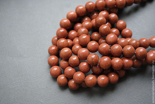Авантюрин коричневый шар гладкий, 9 мм.