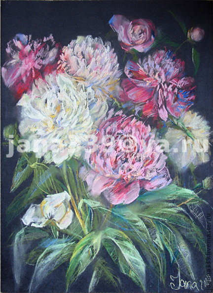 Картины цветов ручной работы. Ярмарка Мастеров - ручная работа. Купить Пионы на темном. Handmade. Цветы пастель, пионы