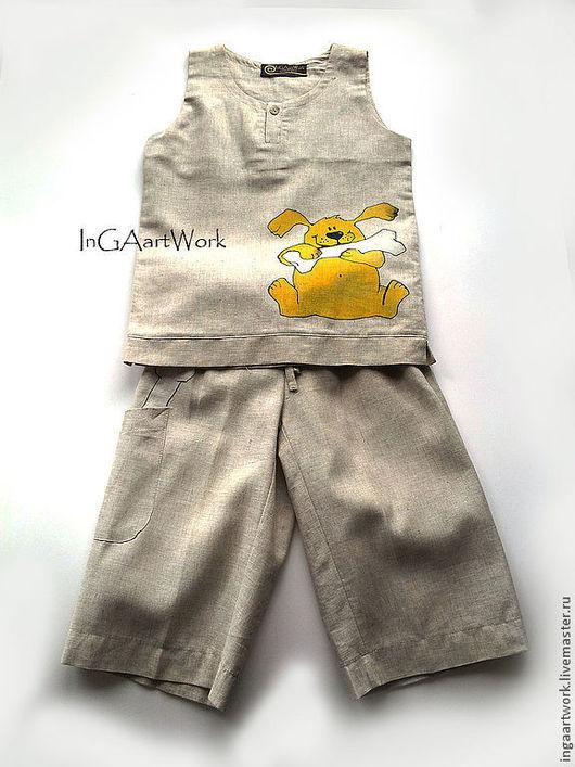 Одежда для мальчиков, ручной работы. Ярмарка Мастеров - ручная работа. Купить Льняной костюм.  116 размер. Ручная роспись.. Handmade.