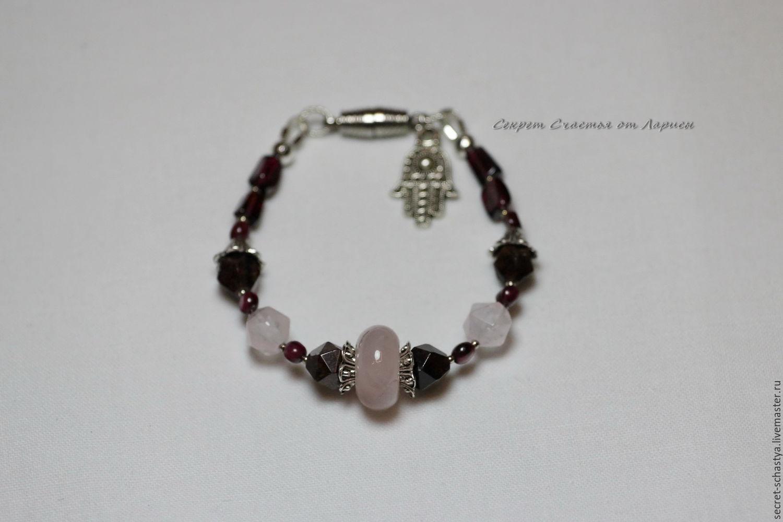 """Браслет из натуральных камней """"Надежда"""". Гранат, розовый кварц"""