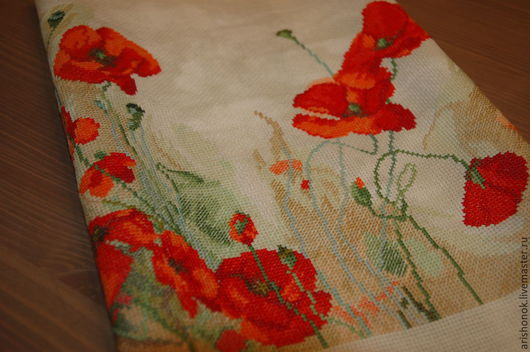 """Натюрморт ручной работы. Ярмарка Мастеров - ручная работа. Купить Вышивка. """"Маковый круг"""".. Handmade. Ярко-красный, картины цветов"""