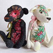 """Куклы и игрушки ручной работы. Ярмарка Мастеров - ручная работа """"Пломбир с земляникой"""" и """"Роза"""" мишки-тедди, валяные из шерсти. Handmade."""