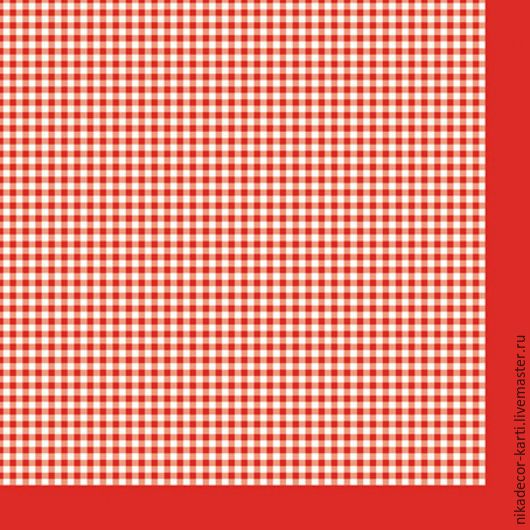 Декупаж и роспись ручной работы. Ярмарка Мастеров - ручная работа. Купить Мелкая клетка на красном (SLOG022102) - салфетка для декупажа. Handmade.