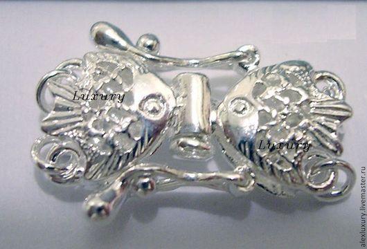 Для украшений ручной работы. Ярмарка Мастеров - ручная работа. Купить Серебро 925, Замок Рыбки на 2 нитей, 13х17,4мм. Handmade.