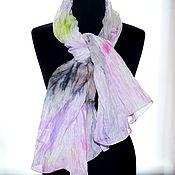 Аксессуары ручной работы. Ярмарка Мастеров - ручная работа шарфик женский хлопок и шёлк акварельные цвета натуральная ткань. Handmade.