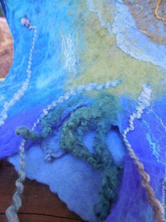 Шали, палантины ручной работы. Ярмарка Мастеров - ручная работа. Купить палантин валяный За стеклом морского аквариума. Handmade.