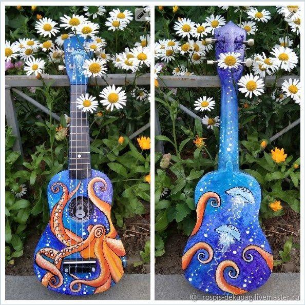 """Струнные инструменты ручной работы. Ярмарка Мастеров - ручная работа. Купить Укулеле(сопрано)""""В обьятьях осьминога""""-гавайская гитара. Handmade. Море"""