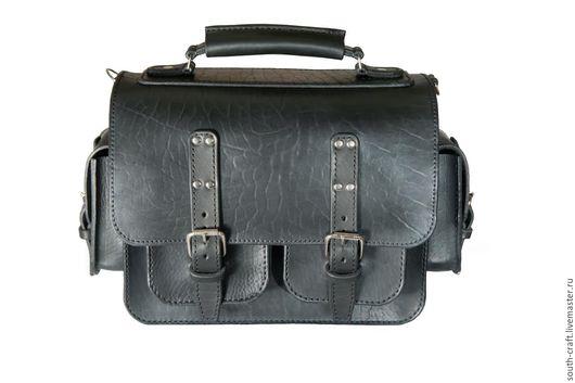 Мужские сумки ручной работы. Ярмарка Мастеров - ручная работа. Купить портфель мужской. Handmade. Черный, портфель из кожи