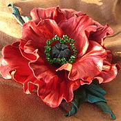 Украшения handmade. Livemaster - original item The colors of the skin. Decoration brooch clip SCARLET FLOWER., red poppy. Handmade.