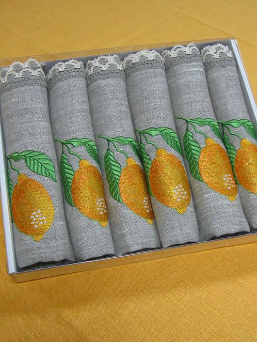 """Текстиль, ковры ручной работы. Ярмарка Мастеров - ручная работа. Купить Набор салфеток """"Лимоны"""" 6 штук в упаковке.. Handmade."""