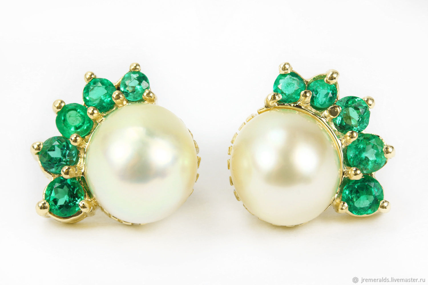 Top 14K Colombian Pearl & Emerald Earrings, Emerald Pearl Earring  VL51