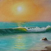 Картины и панно handmade. Livemaster - original item The picture with the Lonely sea wave oil painting. Handmade.