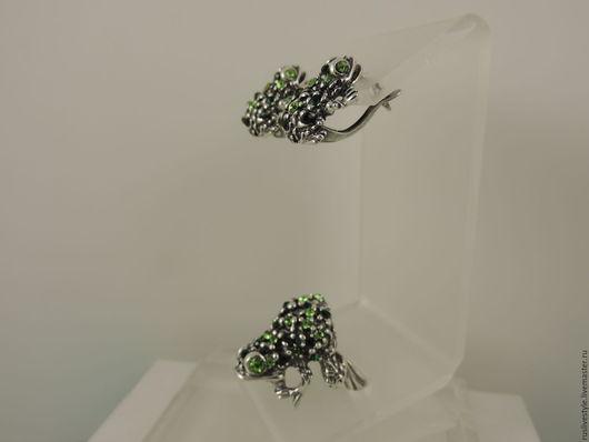 Комплекты украшений ручной работы. Ярмарка Мастеров - ручная работа. Купить серьги кольцо браслет литье зеленый фианит Лягушка символ богатства. Handmade.