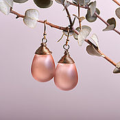 Украшения handmade. Livemaster - original item Peach matte drop earrings in 24K gold. Handmade.