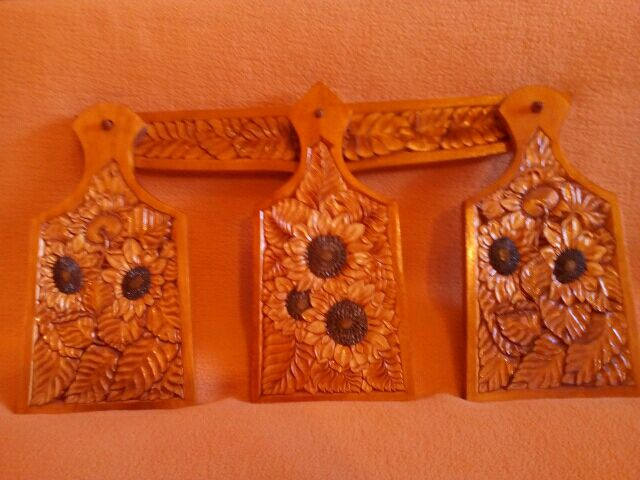 Cutting boards made of wood Sunflowers, 3 PCs. The art of carving, Cutting Boards, Moscow,  Фото №1