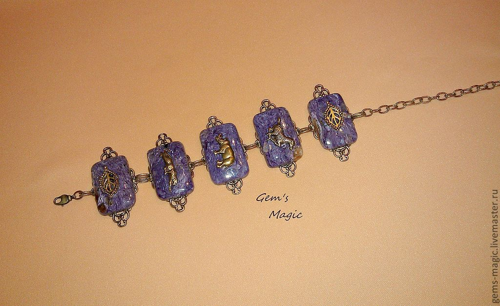 Bracelets handmade. Livemaster - handmade. Buy Bracelet 'Night in Savannah'.Purple, savannah, African motifs, charoite
