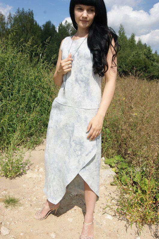 Платья ручной работы. Ярмарка Мастеров - ручная работа. Купить Войлочное платье. Handmade. Серый, длинное платье, шерстяное платье