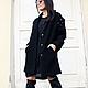R00020 Дизайнерское пальто трансформер Пальто шерстяное пальто без рукавов жилет из букле уникальный дизайн  черное пальто пальто из шерсти букле кардиган шерстяной осенее пальте пальто черное