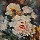 """Картины цветов ручной работы. Ярмарка Мастеров - ручная работа. Купить """"Розы"""". Handmade. Разноцветный, белые цветы, картина для интерьера"""