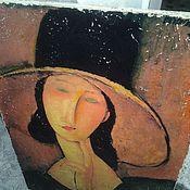 Картины и панно ручной работы. Ярмарка Мастеров - ручная работа Панно 35х55 деревянное состаренное Амедео Модильяни III. Handmade.