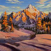 Картины и панно handmade. Livemaster - original item Buy an oil painting, Buy a mountain landscape at sunset. Winter mountains. Handmade.