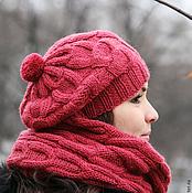 Аксессуары ручной работы. Ярмарка Мастеров - ручная работа Шапка шарф снуд вязаный, малиновый, брусничный, красный, бордовый. Handmade.