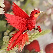 """Украшения ручной работы. Ярмарка Мастеров - ручная работа брошь - птица колибри """"цветущая айва"""". Handmade."""