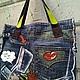 Джинсовая сумка `Комиксы` обратная сторона сумки